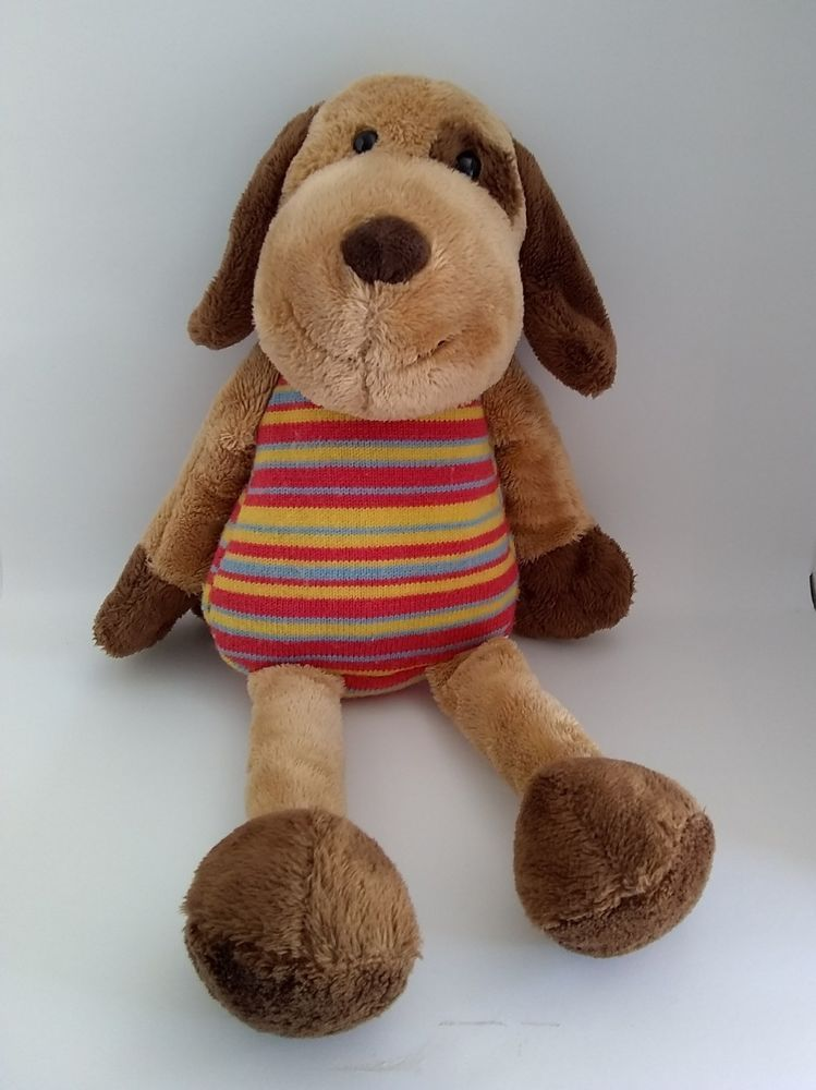 Toys R Us Plush Dog Animal Alley Stripe Knit Stuffed Brown