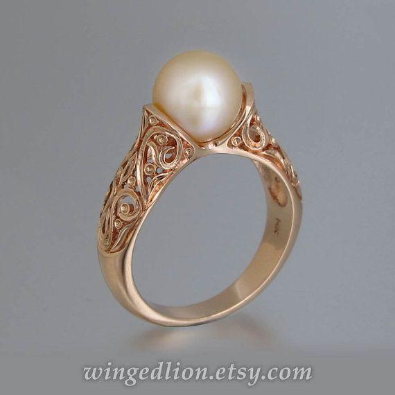 Die VERZAUBERTE Perle 14 K rose gold Ring | ring | Pinterest ...