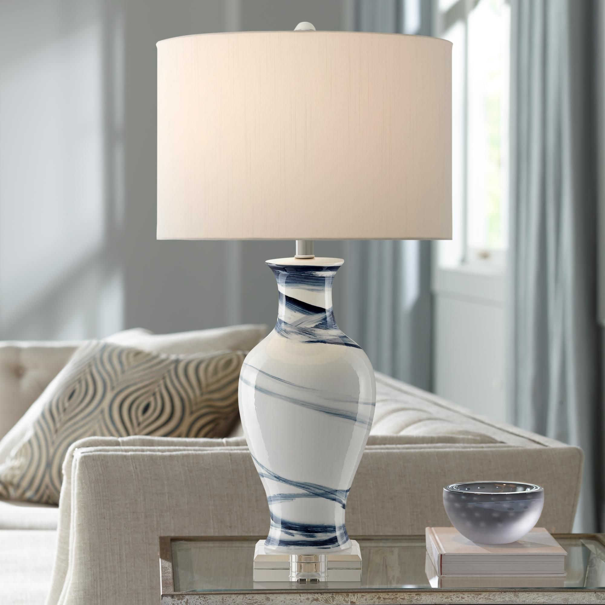 Table Lamps Currey And Company Hanni White Blue Porcelain Table Lamp In 2020 Table Lamp Table Lamp Wood Lamp