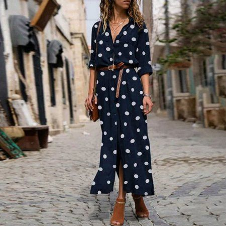 Women's Casual Polka Dot Single-Breasted Maxi Shir