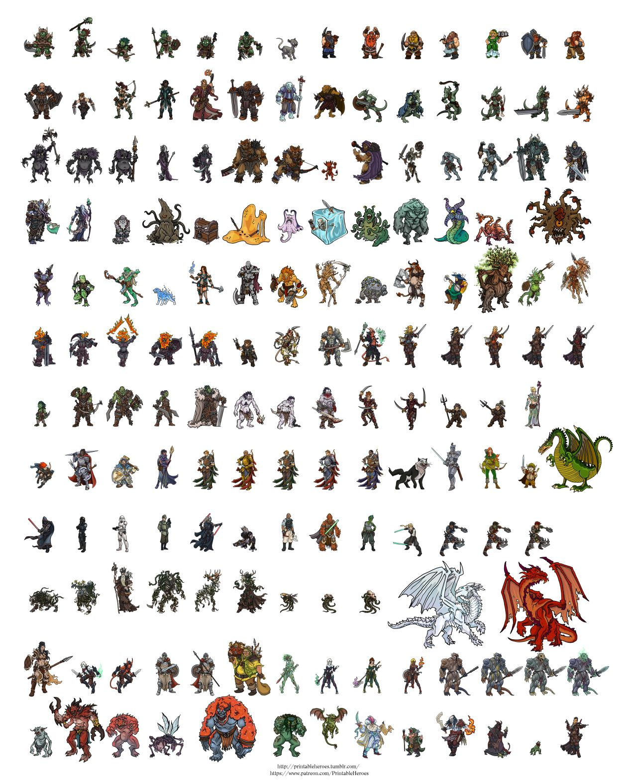 It is an image of Monster Printable Paper Miniatures