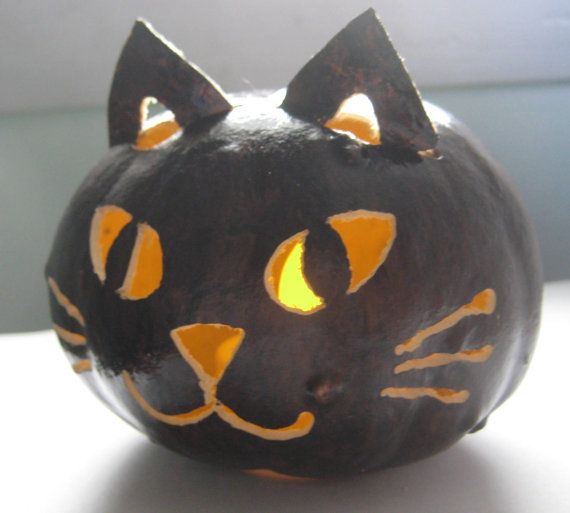 halloween luminary black cat gourd spooky night light window decoration