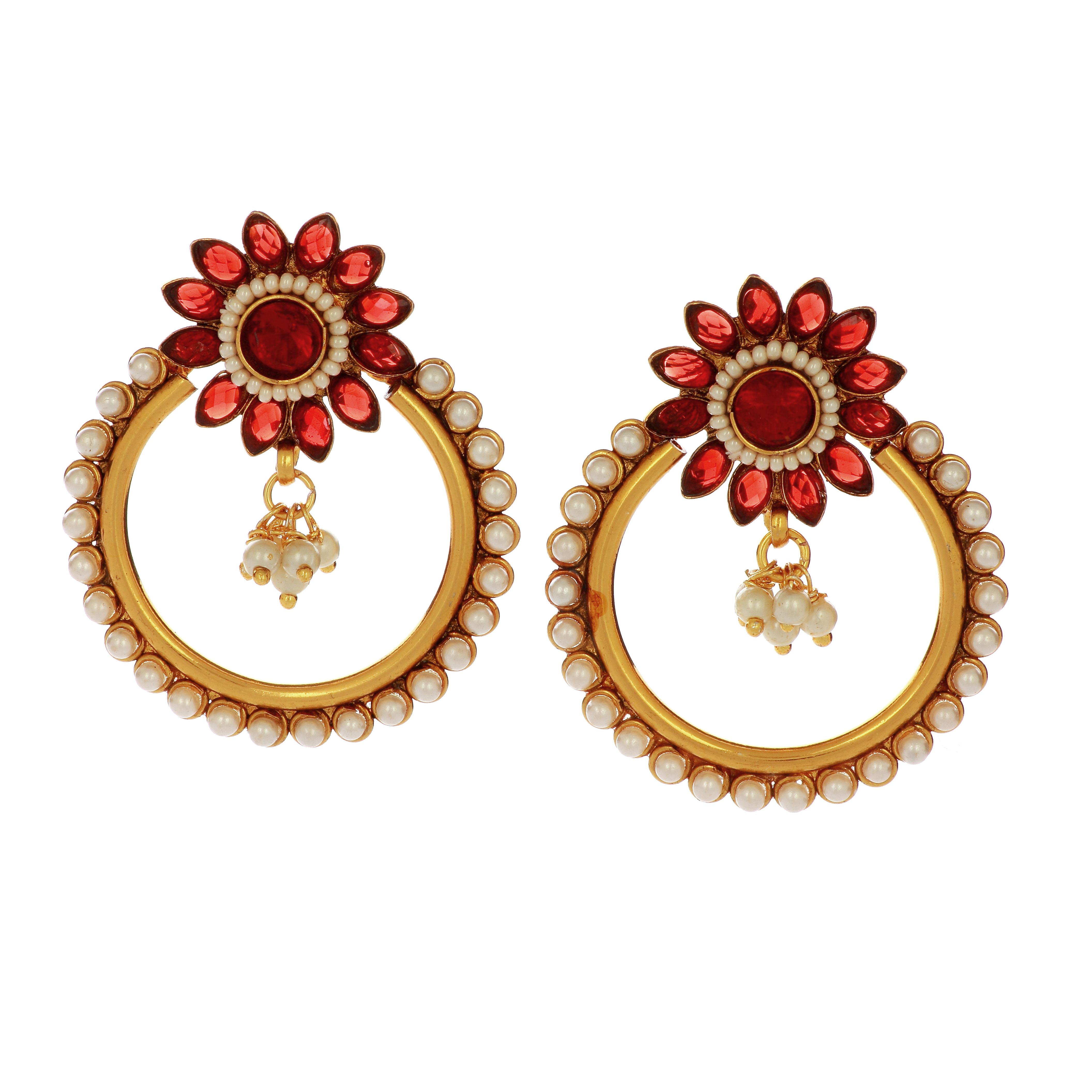 Red Kundan Studded Beautiful Earring   Imitation jewellery ...