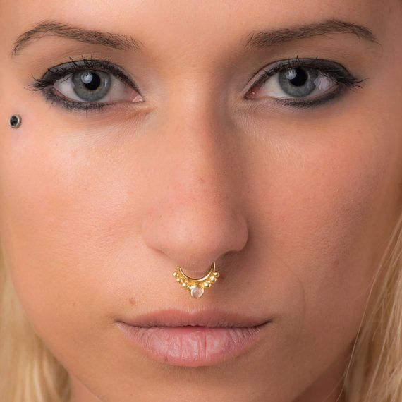 Real Gold Septum Ring Gold Nose Ring Indian Septum Gemstone
