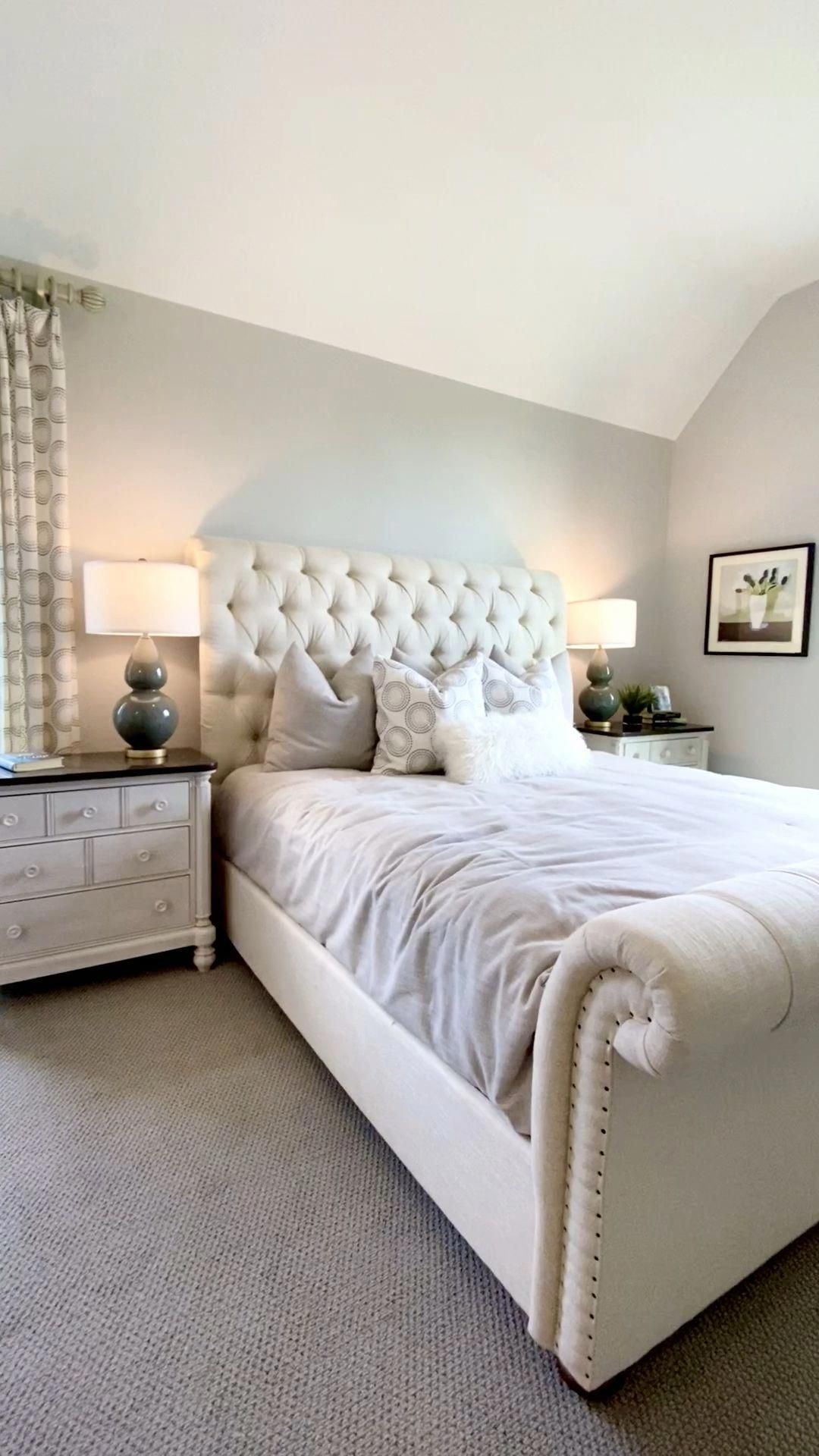 Bedroom With Tufted Headboard On An Upholstered Sleigh Bed Click To See More Model Home Dec In 2020 Upholstered Bed Master Bedroom Redecorate Bedroom Bedroom Interior Home bedroom makeover diy upholstered