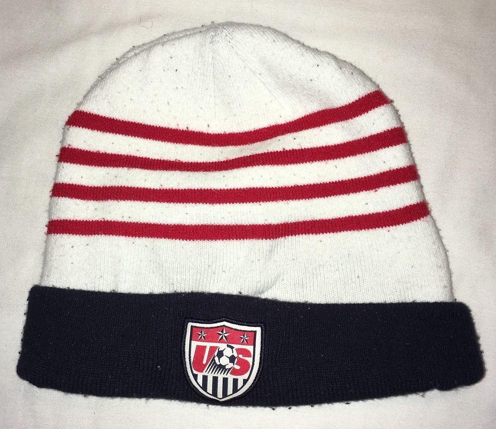 bc5ed0a8d2d USMNT OLD LOGO Blue w Red White Stripes Nike Winter Hat Soccer Team USA   fashion