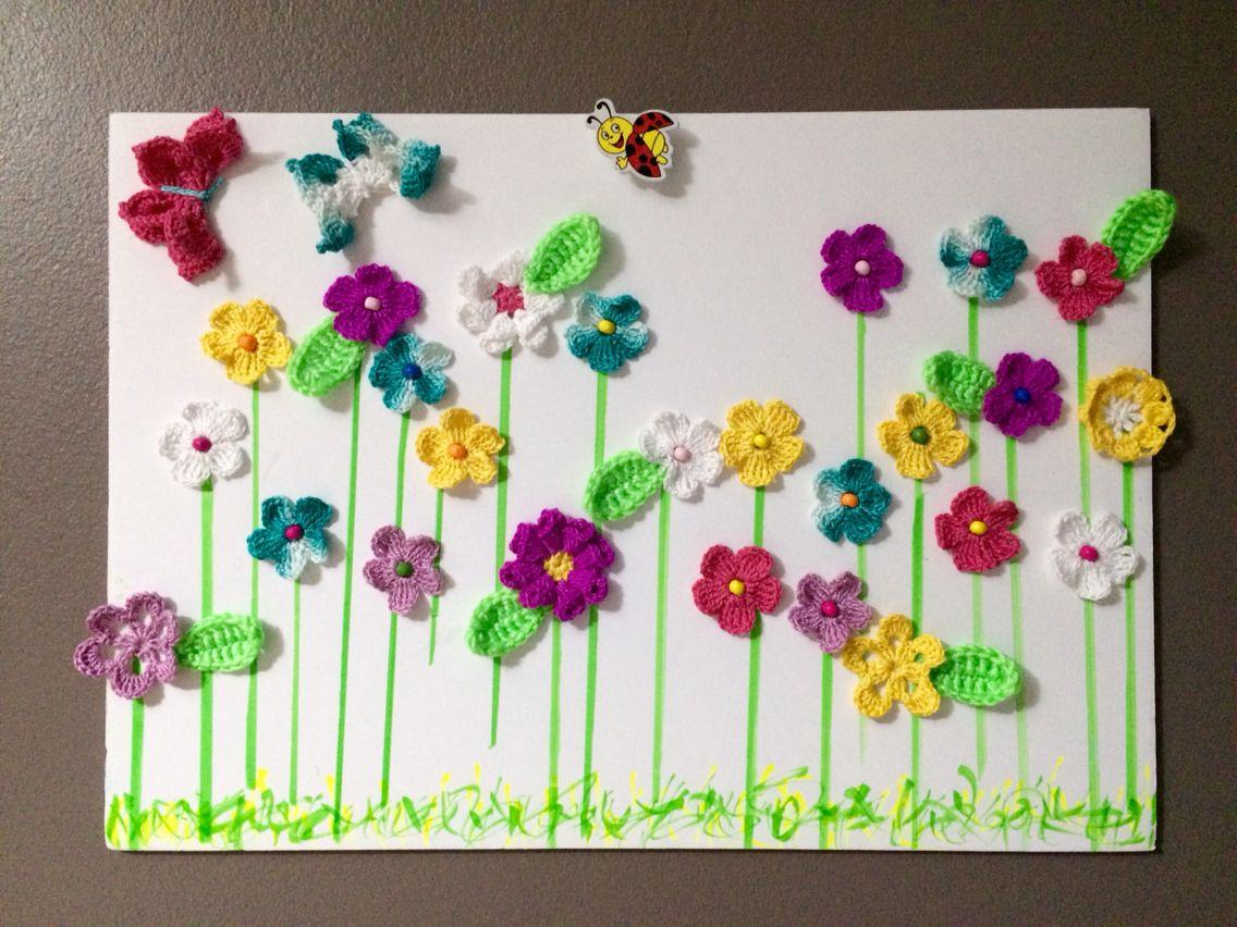 Cuadro decorado con flores a crochet | pano | Pinterest