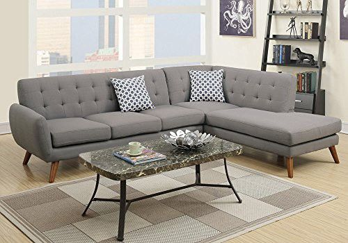 1PerfectChoice Modern 2 pcs Sectional Sofa Couch Chaise Tufted Back