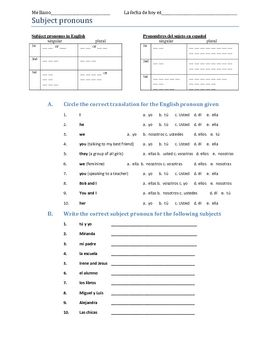 Worksheet Spanish Subject Pronouns Worksheet 1000 images about spanish pronouns on pinterest amor do re mi and blackpool
