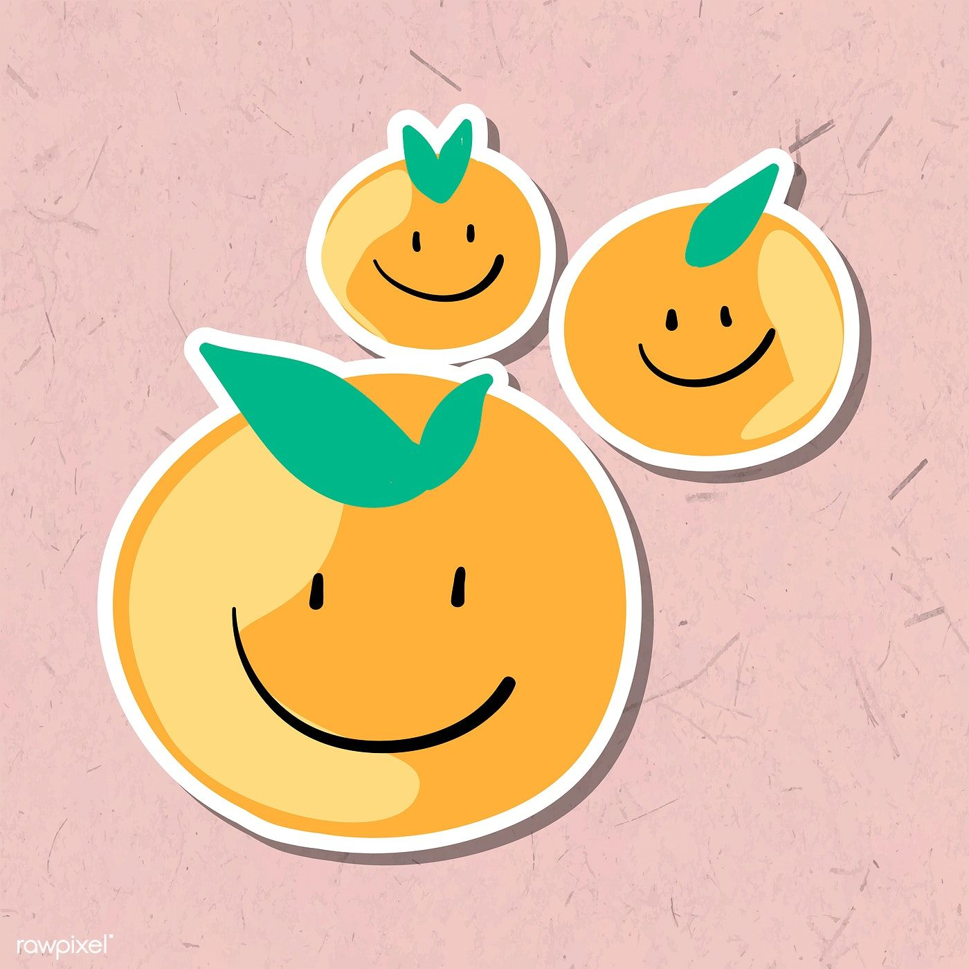 Cute Smiling Tangerine Sticker Design Element Vector Free Image By Rawpixel Com Pimmy