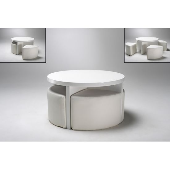 Round Gloss White Coffee Table + 4 Stools, 5075 11.11