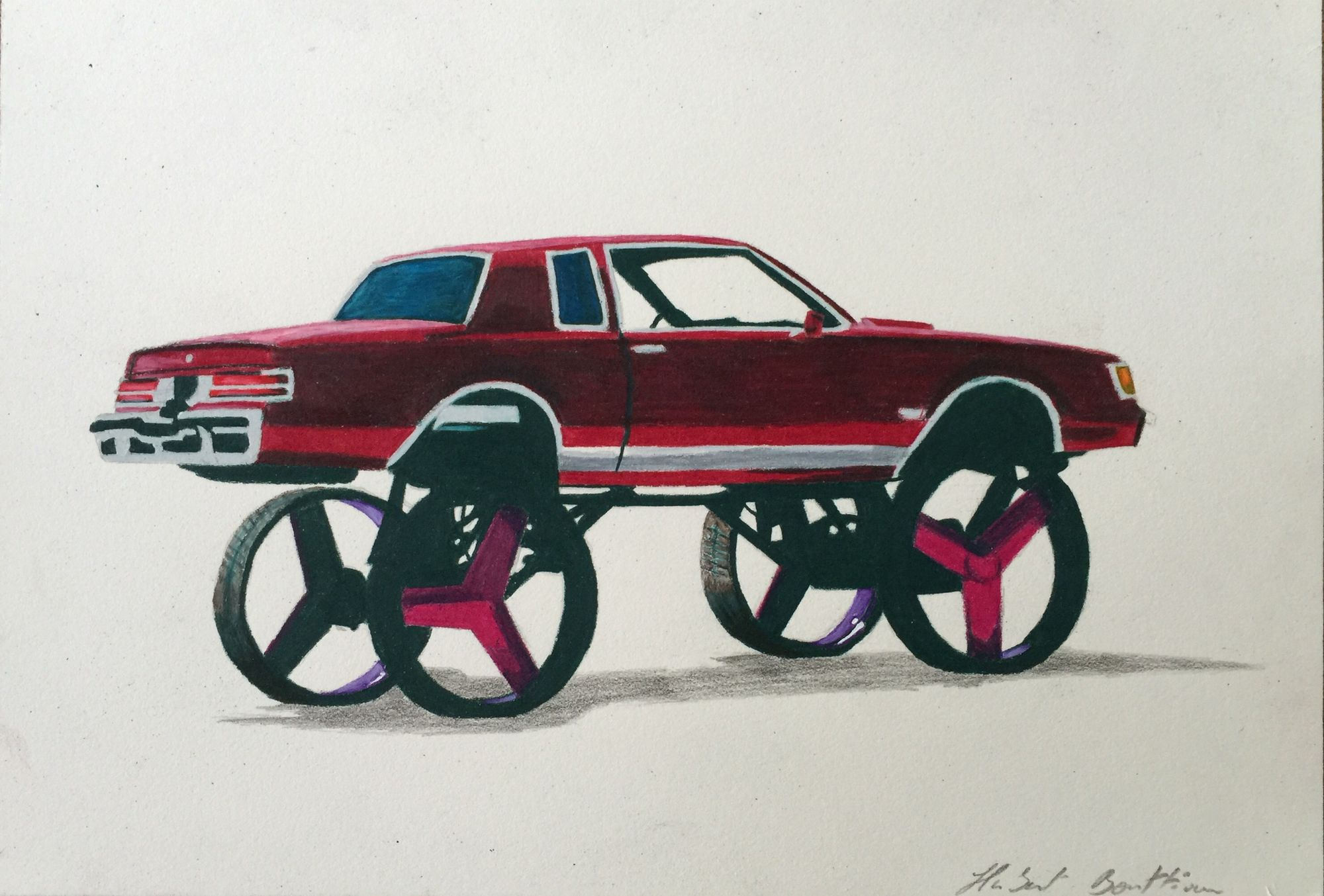 """""""Donk style"""" 260x180 mm, crayons sur papier"""