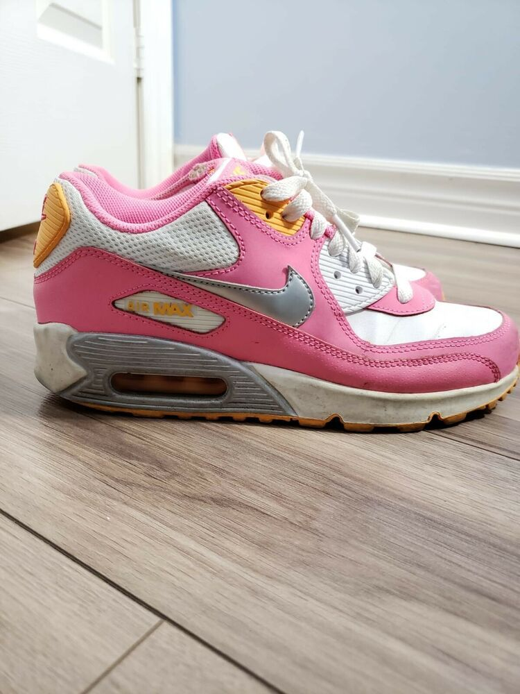 Nike Air Max 90 Womens 6.5 Pink Leather Sneaker Running