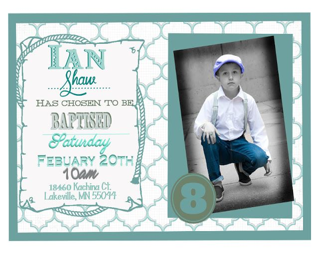free lds baptism photo invitation template in blue pink and yellow