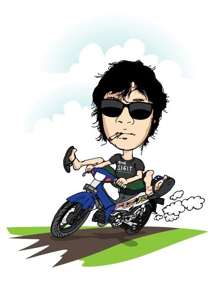 2stroke Yamaha F1zr Cartoon Kartun Pengasuh Anak Gambar