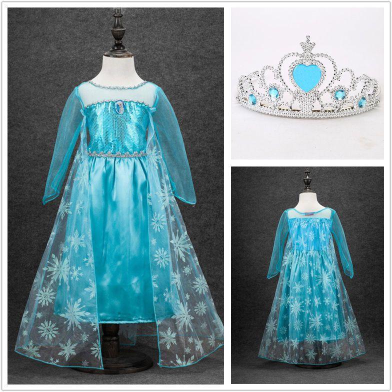 6b96dc3bd Elsa Disfraz de Niña Princesa Vestido de Reino de Hielo + Corona COSPLAY KIT