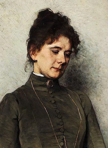 Bertha Wegmann: Young reflecting woman with dark curly hair and a grey dress decorated with a medallion.