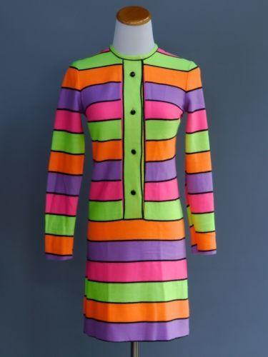 39df3cbb046 VTG-70s-Bold-Neon-Stripe-Sweater-Dress -Mod-Hippie-Twiggy-Treasures-Jr-Miss-32-XS