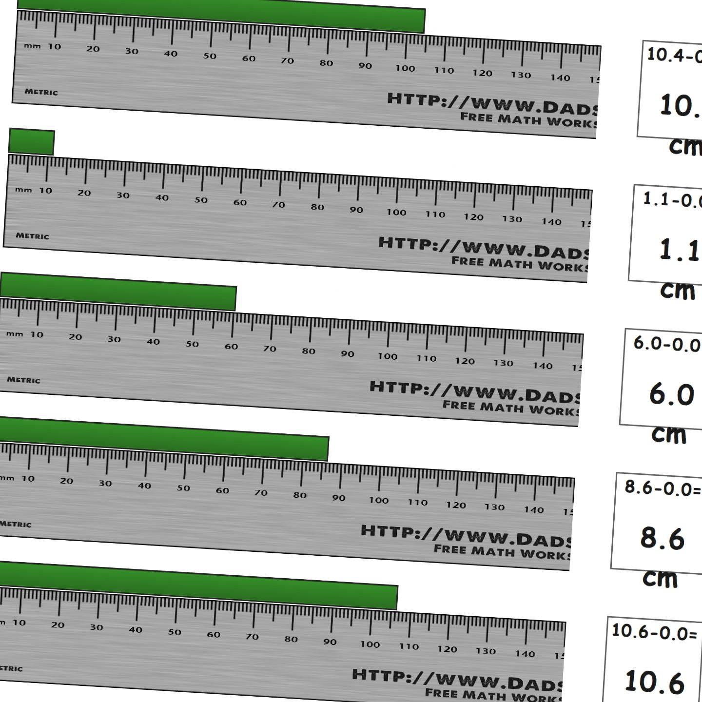 Worksheets for measuring length on a metric ruler from zero