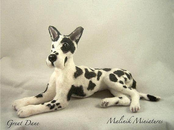 Dollhouse Miniature Harlequin Great Dane Ooak By Malinikminiatures