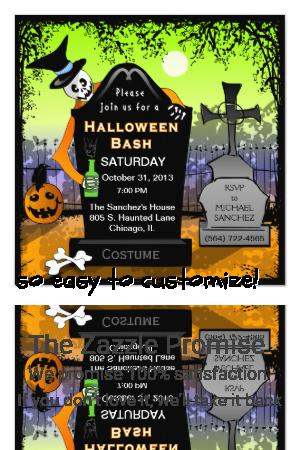 Halloween Bash Graveyard Invitation |  Halloween Bash Graveyard Invitation