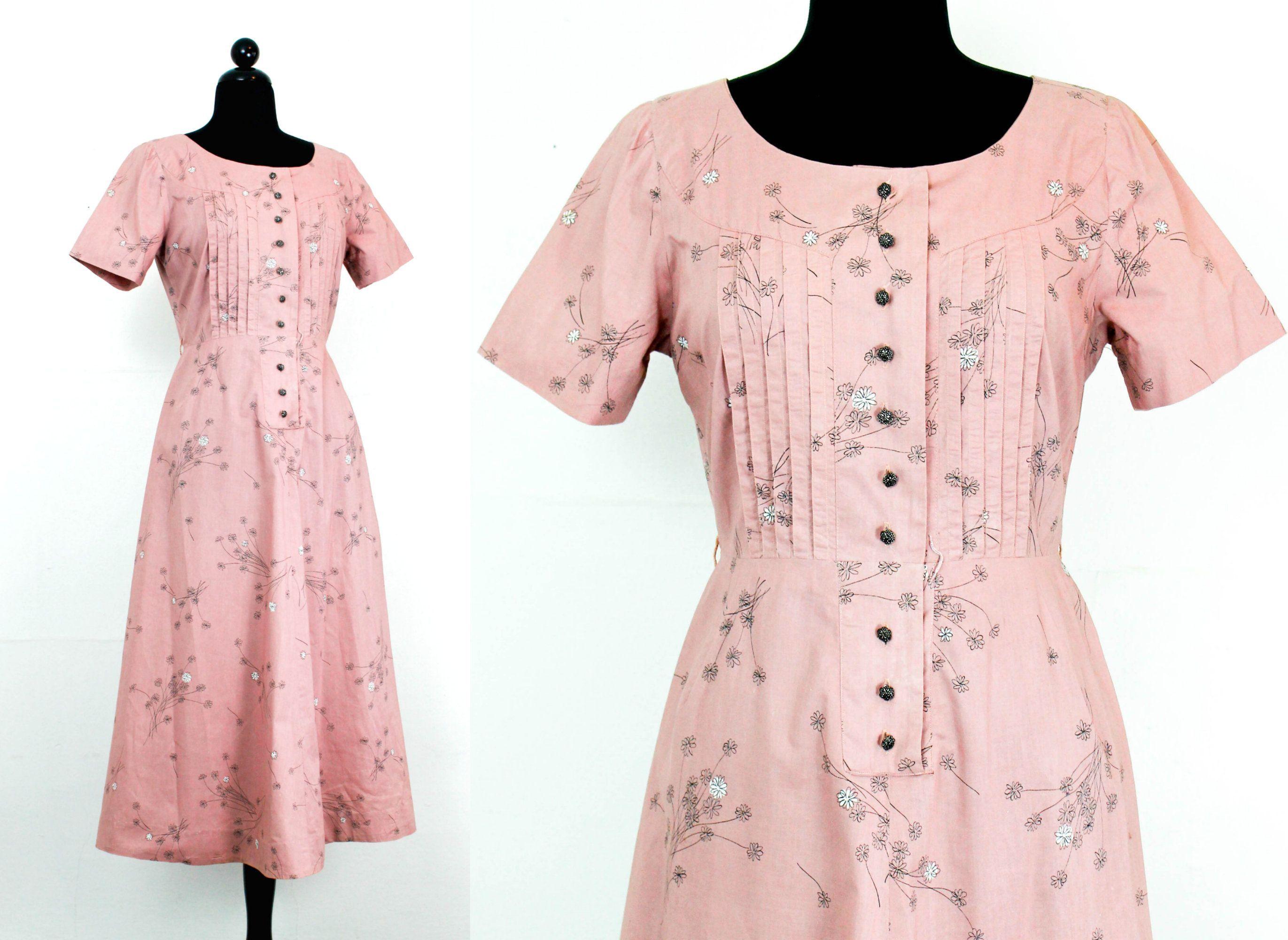 Vintage s dress spring mauve pink s s shirtwaist dress