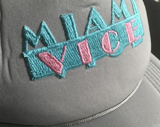 2dfa8ae17fa Vintage 80s 90s Miami Vice Gray Snapback Hat Embroidered Logo Mesh Baseball  Cap Retro Trucker One Size Unisex Costume Party Novelty