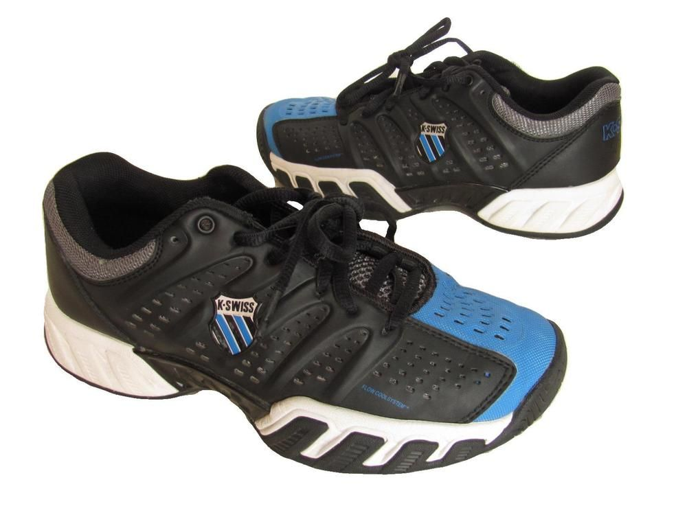 K Swiss Shoes 4 M Tennis Athletic Court Youth Size Black Blue Leather #KSwiss #Athletic