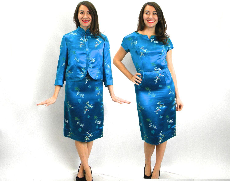 1950er Jahre blaue Seide Kleid & Jacke | 50er Jahre blau ...