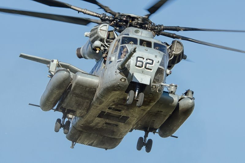 """A Sikorsky CH-53E Super Stallion, from Marine Heavy Helicopter Squadron 361 (HMH-361) """"Flying Tigers,"""" departing Kiwanis Park during WTI 2-15."""