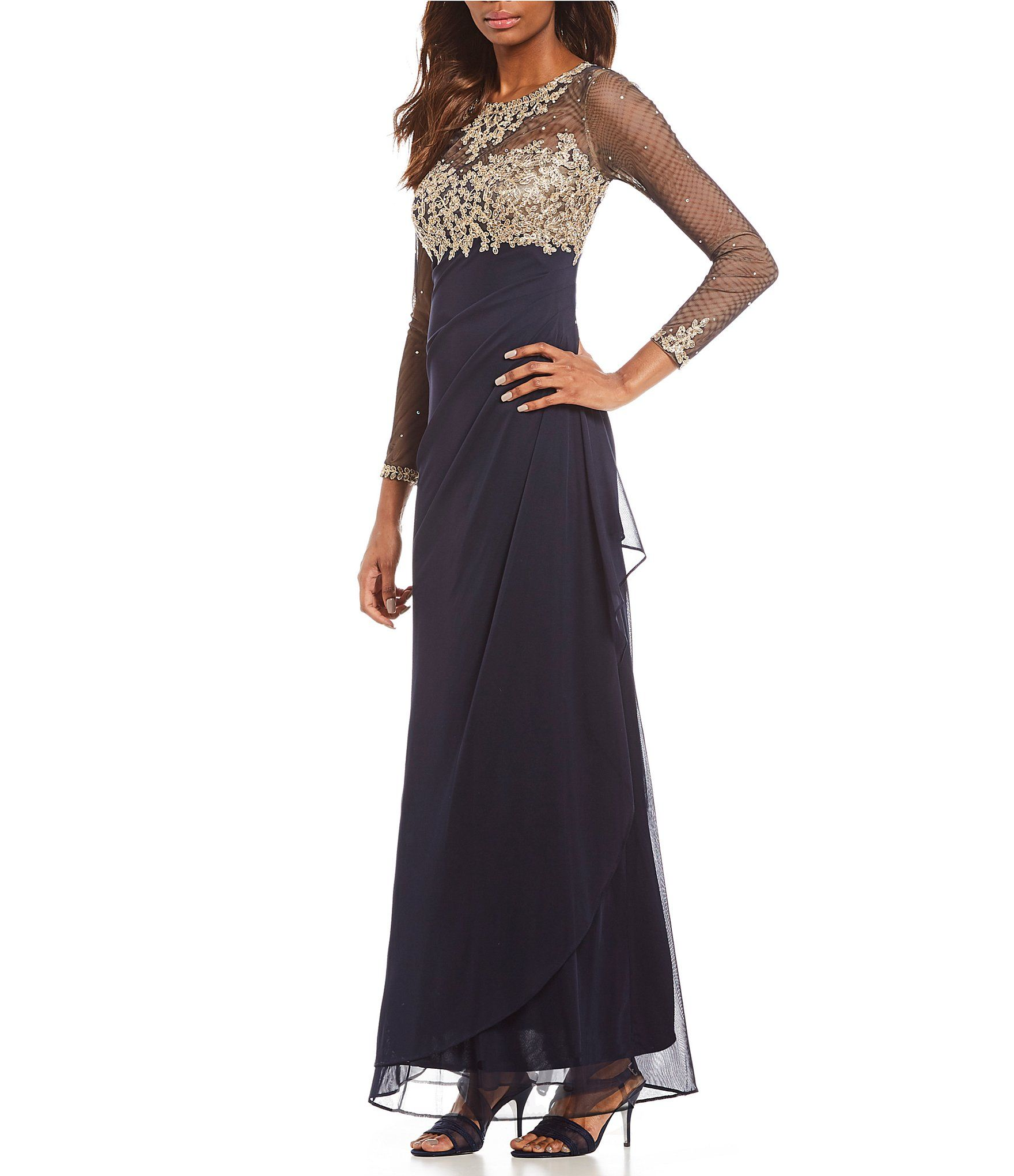061111a60826b Shop for Xscape Long Sleeve Gold Embroidered Rouched Gown at Dillards.com.  Visit Dillards.com to find clothing, accessories, shoes, cosmetics & more.