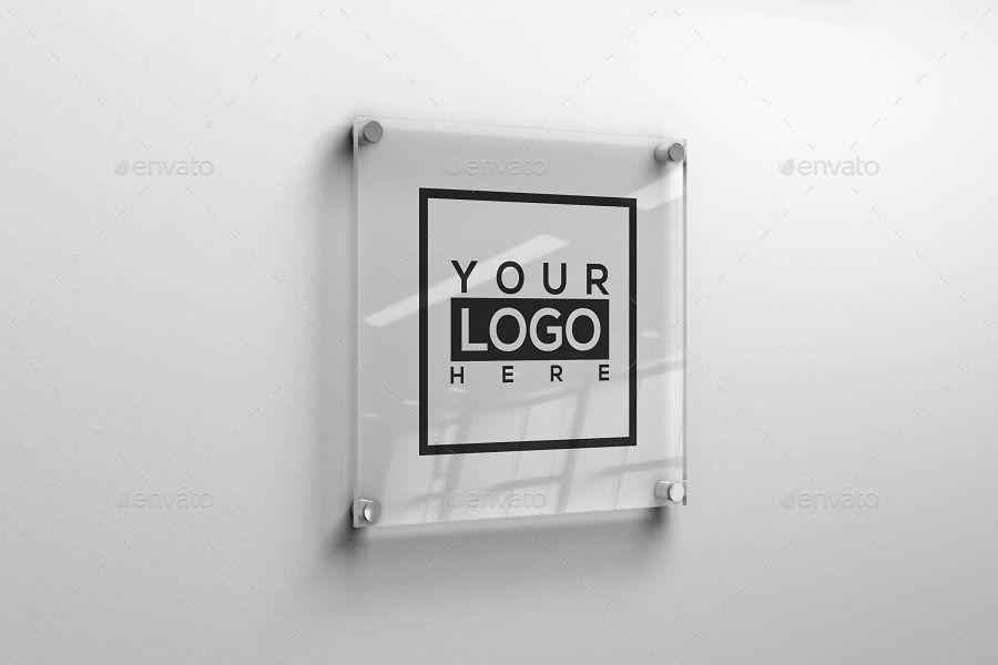Square Glass Plate Logo Mockup Logo Mockup Photographer