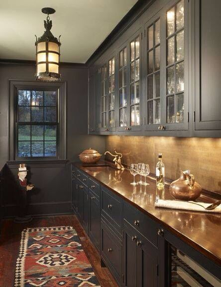 Love The Copper And Cobalt Grey Modern Spin Kitchen Interior Kitchen Kitchen Remodel