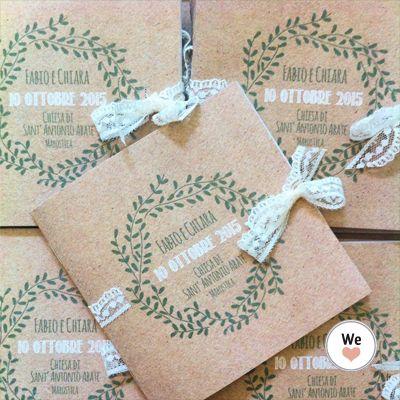Libretti Messa Kraft Quadrati Cartoleria Per Matrimoni Annuncio Di Matrimonio Idee Per Matrimoni