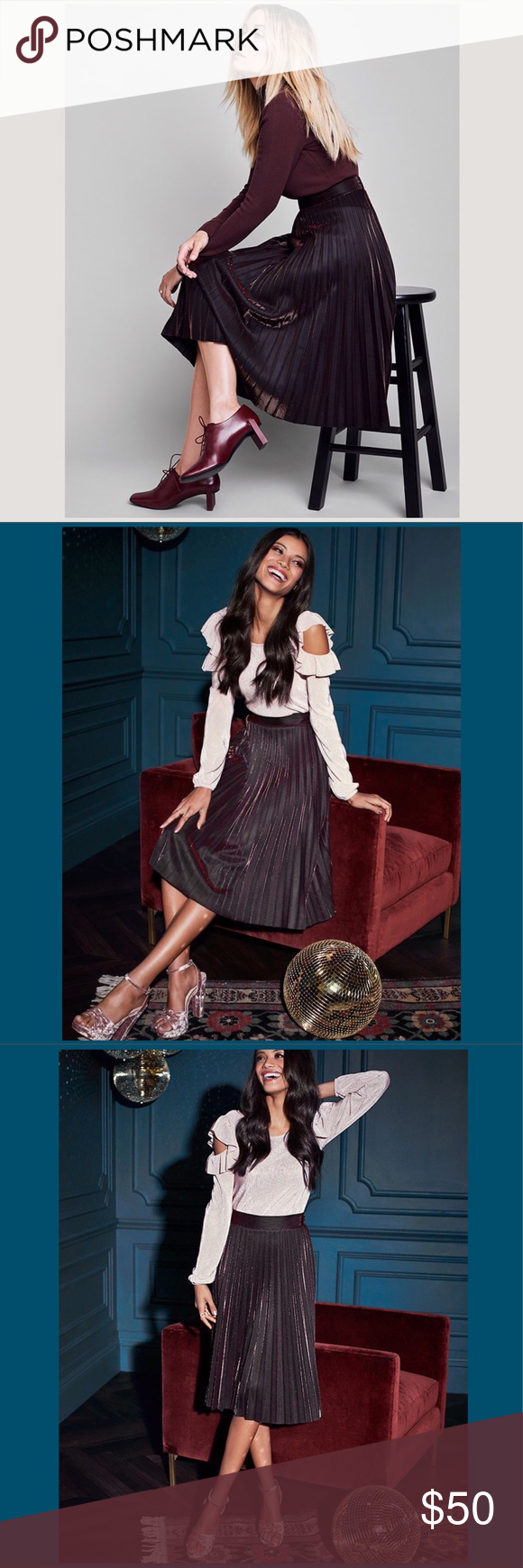 a7c7e961b LC Runway Collection Pleated Metallic Midi Skirt CONDITION New with tags  Ring in the weekend wearing