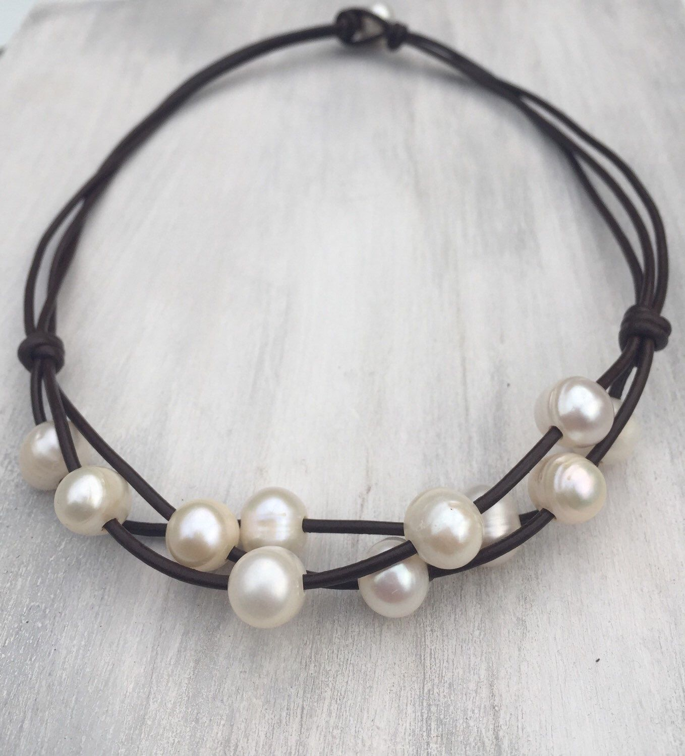 Freshwater Pearl Necklace, Leather And Pearls, Pearls On Leather, Pearl  Jewelry A Personal