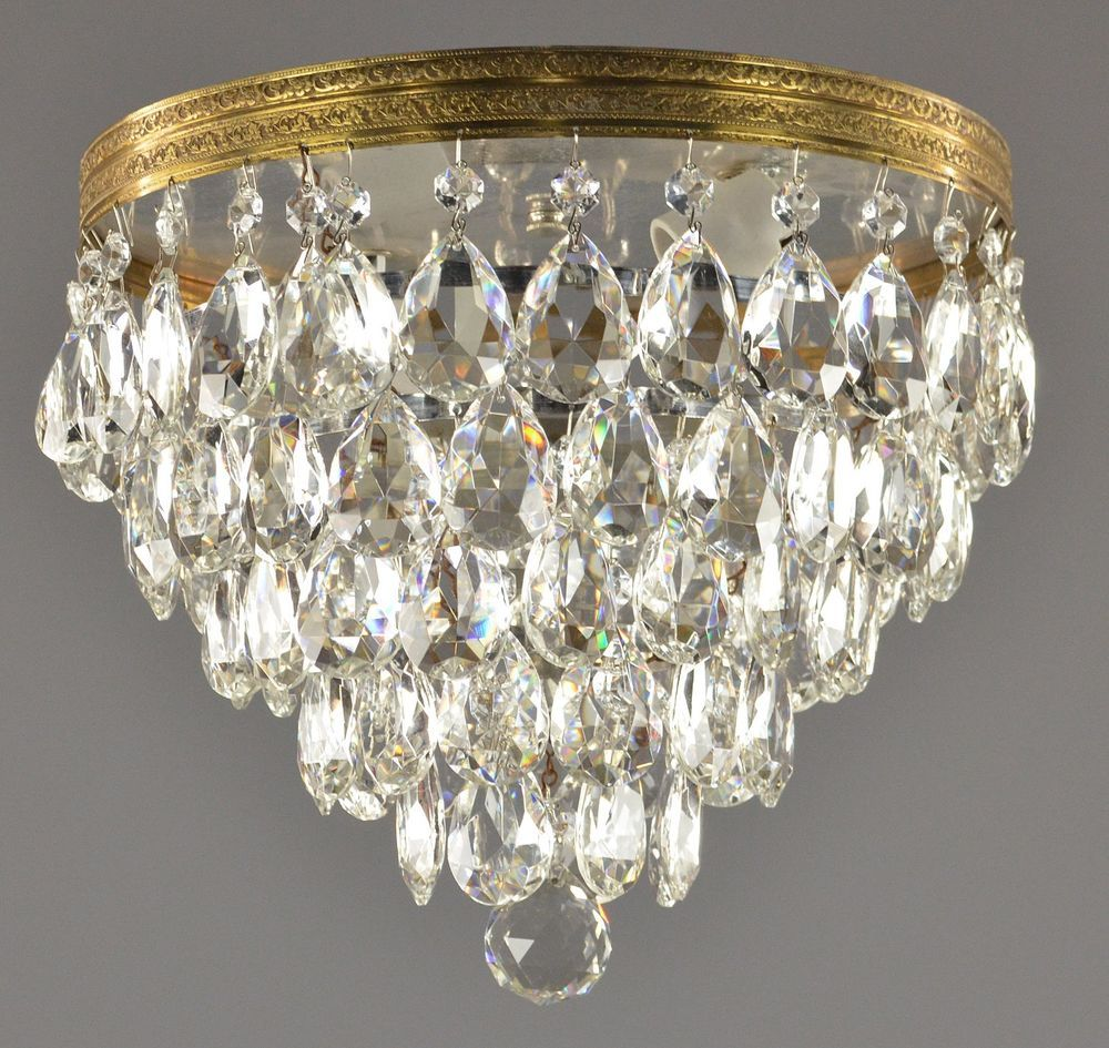 Somette Crystal 3 Light Gold Chandelier Flush Mount Crystal