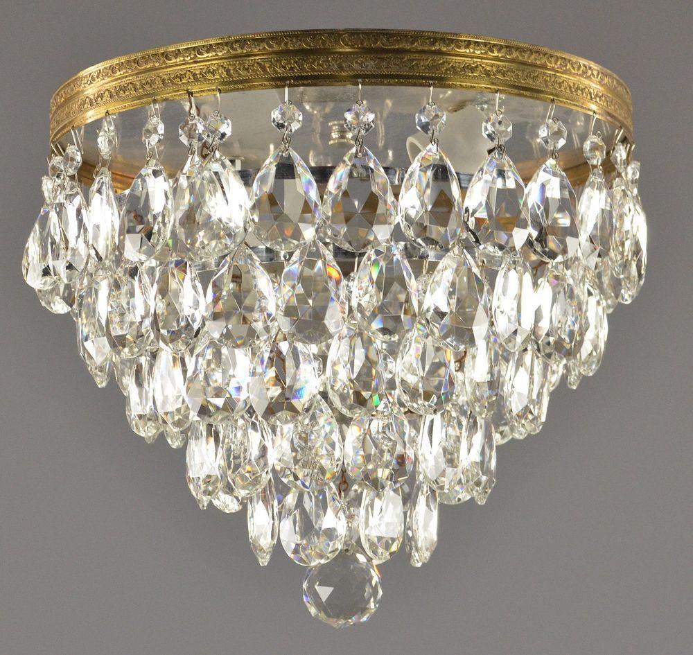 Italian Crystal Brass Flush Mount Chandelier C1950 Vintage Antique