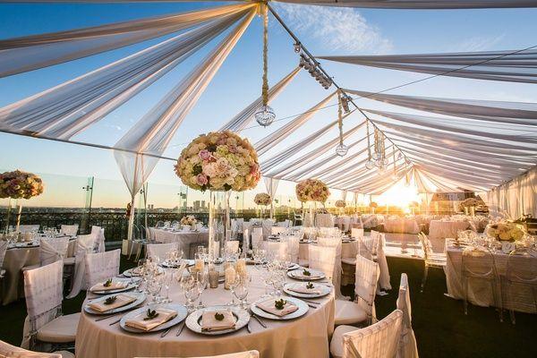Vibrant Indian Wedding Ceremony Modern Rooftop Reception Inside Weddings Rooftop Wedding Wedding Inside Outdoor Wedding Venues