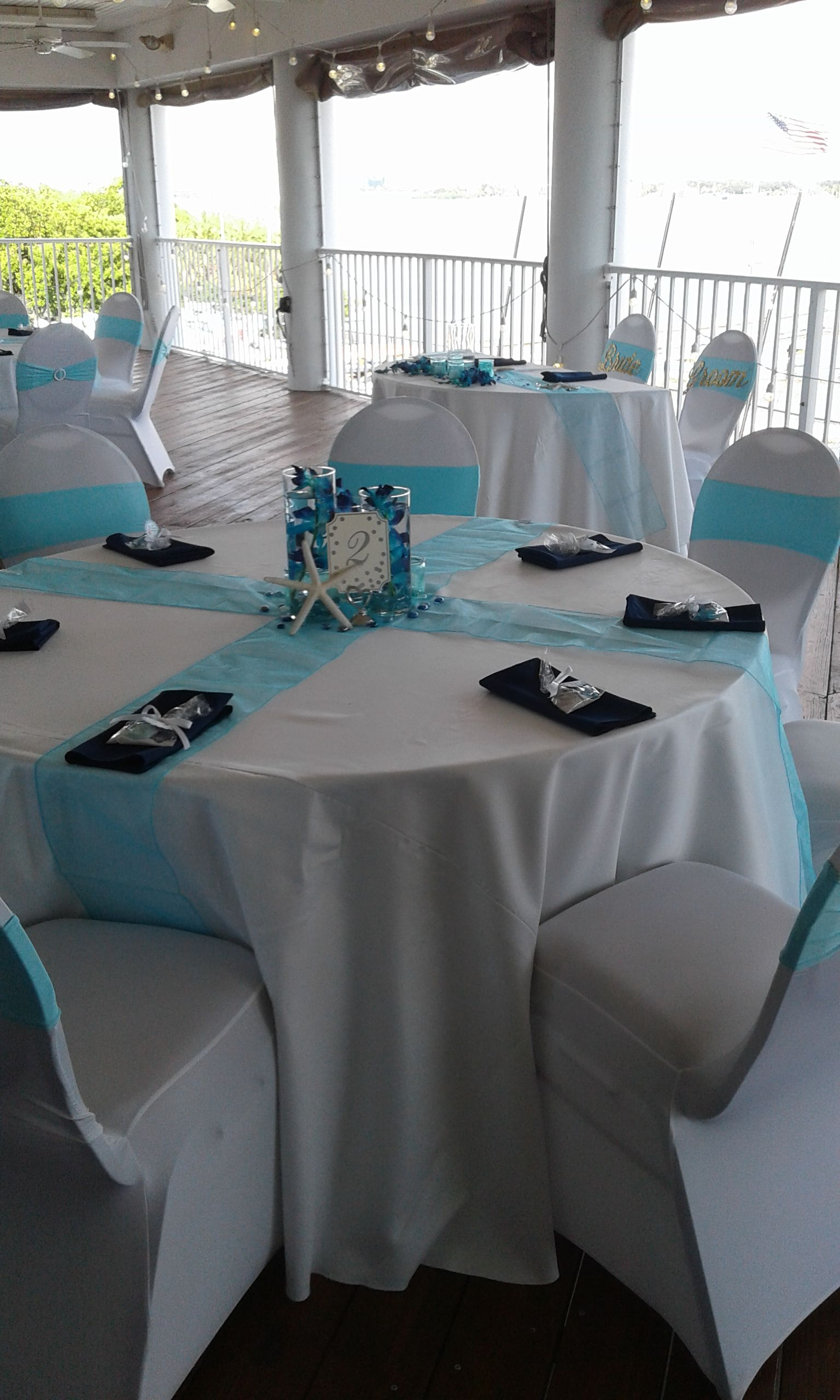 Aqua Table Runners And Chair Sashes, With White Spandex Chair Covers, Navy  Napkins.