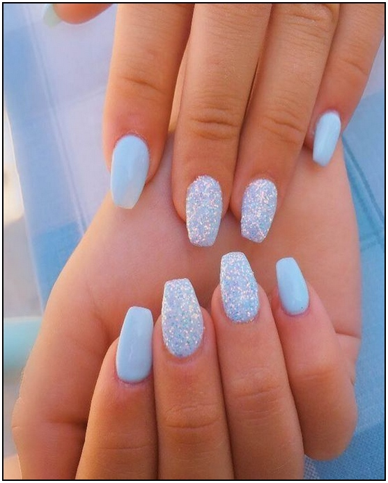 105 Wonderful Summer Nail Colors Of 2020 100 Pradehome Com In 2020 Blue Acrylic Nails Sky Blue Nails Short Acrylic Nails