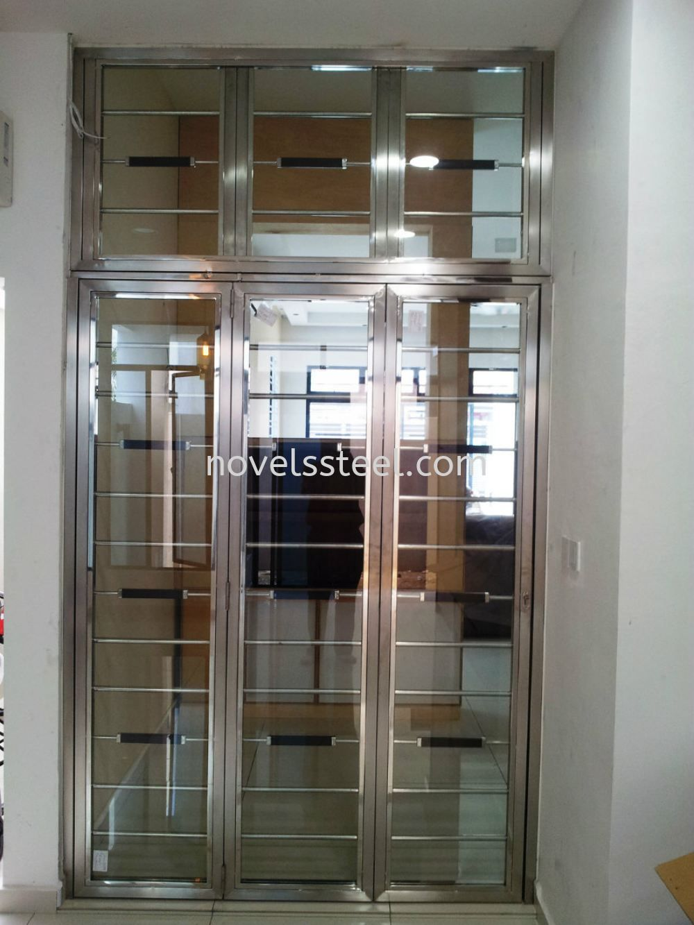Stainless steel sliding door 014 stainless steel sliding for Door design johor bahru