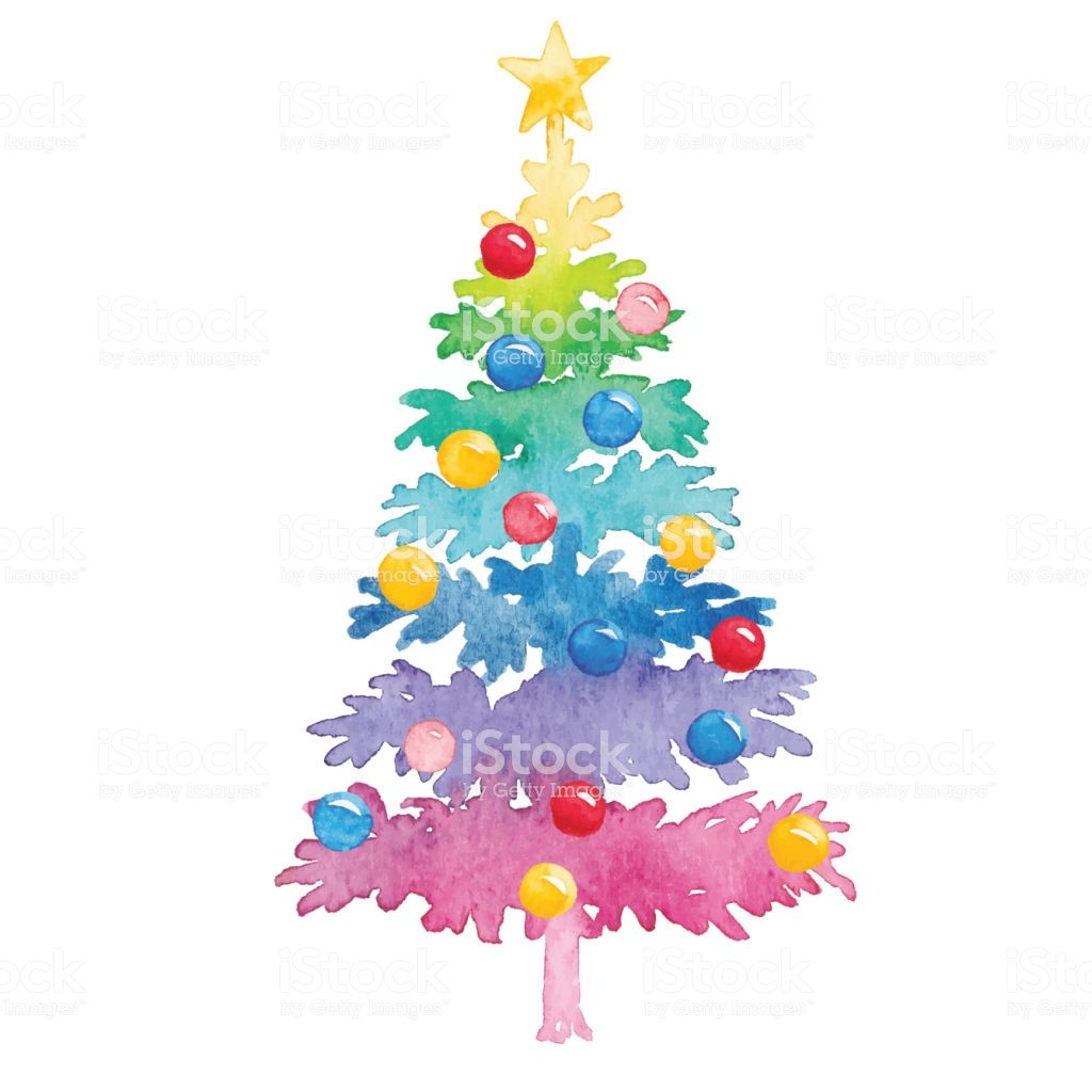 Colorful Christmas Tree Vector.Vector Illustration Of Watercolor Painting 2019 Holiday