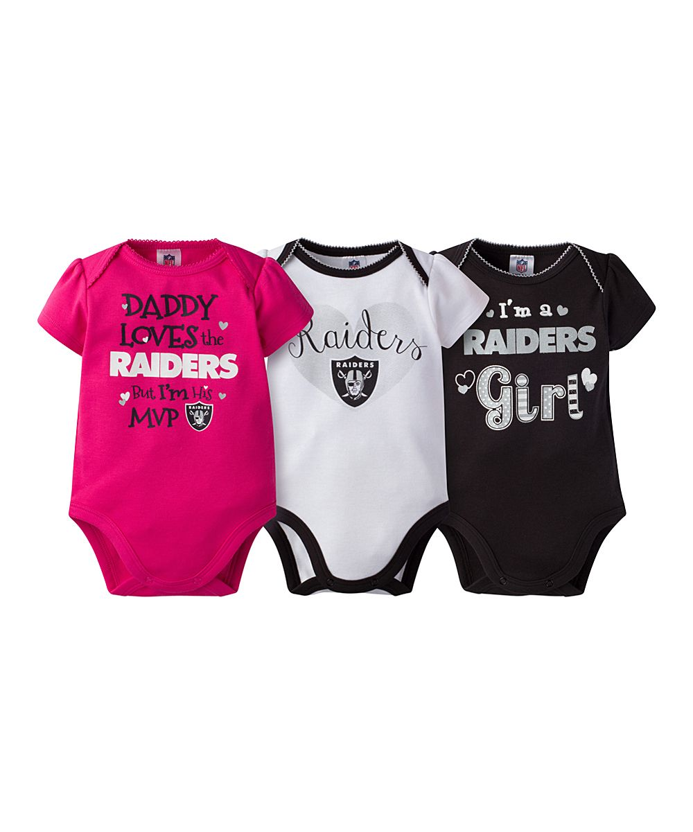 Oakland Raiders Pink Short-Sleeve Bodysuit Set - Infant  73db483a4