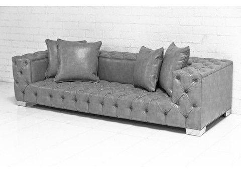 Grey Leather Tufted Sofa