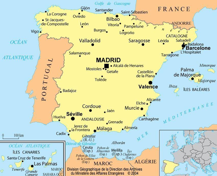 Carte De L Espagne Recherche Google Espagne Carte Barcelone