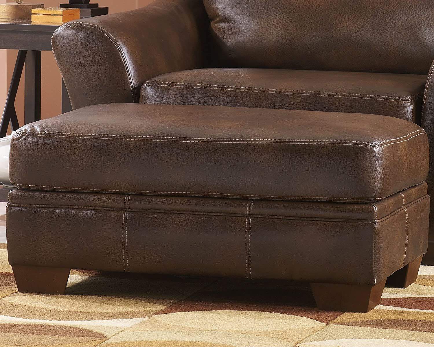 Signature Design By Ashley Sedona Faux Leather Ottoman Brown Home Kitchen Furniture Accent Furniture Faux Leather Ottoman Ottoman Leather Ottoman [ 1200 x 1500 Pixel ]