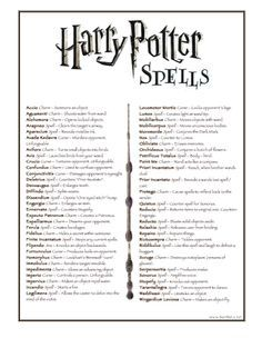 photo about Harry Potter Spell List Printable called harry potter listing of spells  HP LARP Harry potter
