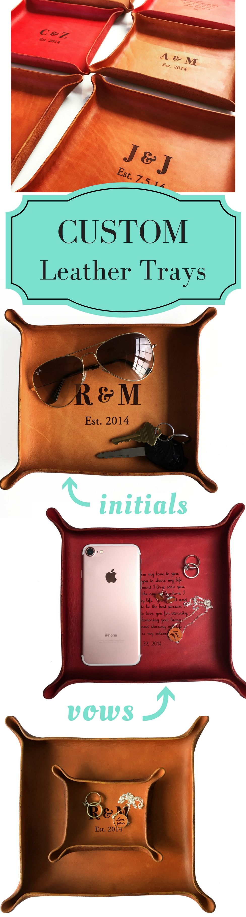eb91bbfdfffa LOVE this meaningful leather anniversary gift! Personalize your initials or  wedding vows on a genuine leather tray. Click to design yours now!