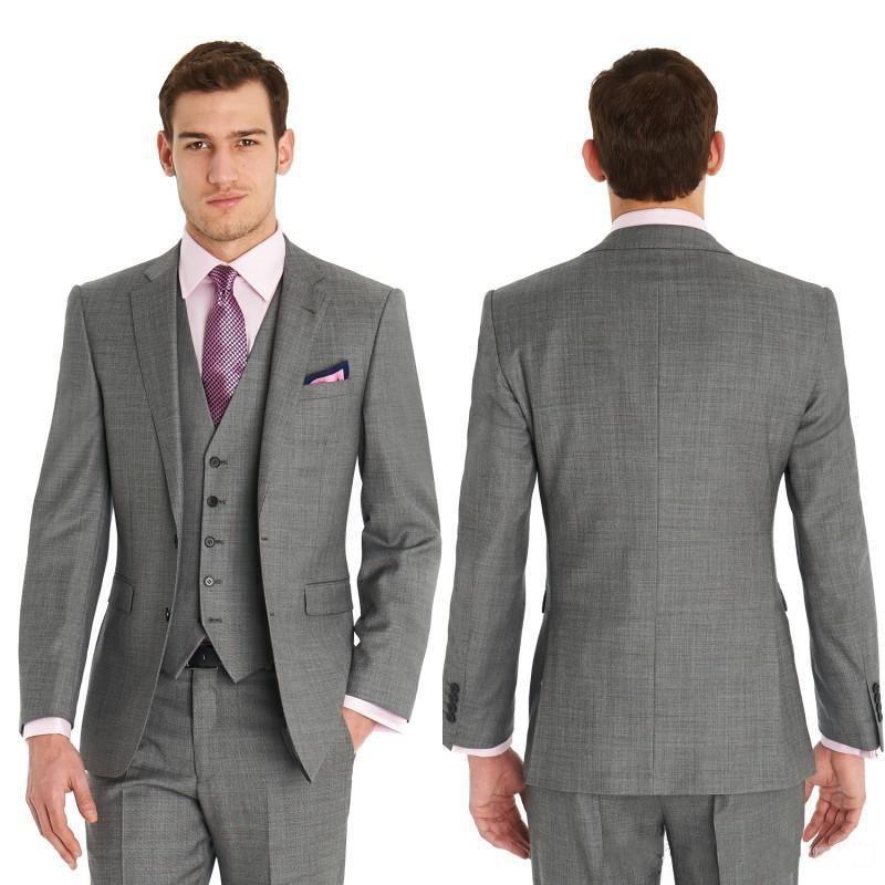 Slim Fit Side Vents Light Grey Groom Tuxedos Notch Lapel Best Man ...